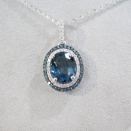 London Blue Topaz Double Halo Necklace