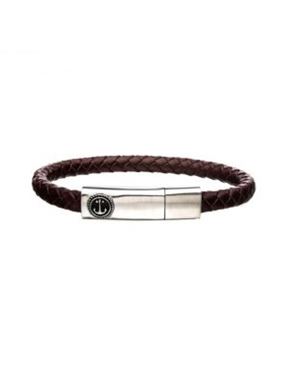 Brown Leather with Anchor in Brushed Steel Clasp Bar Bracelet