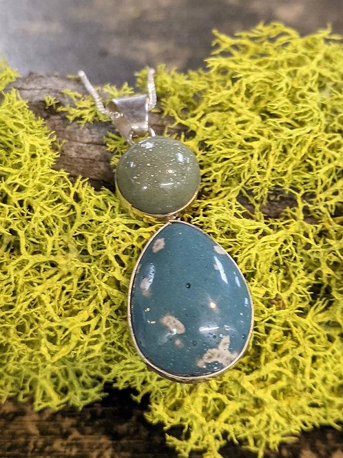 Slag Glass Teardrop Necklace