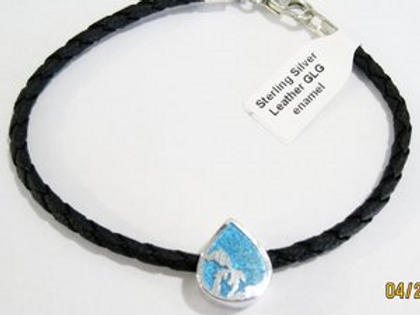 Great Lakes Water Drop Leather Bracelet