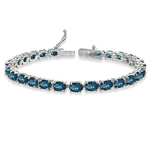 23ct TW Genuine  London Blue Topaz Gemstone Bracelet