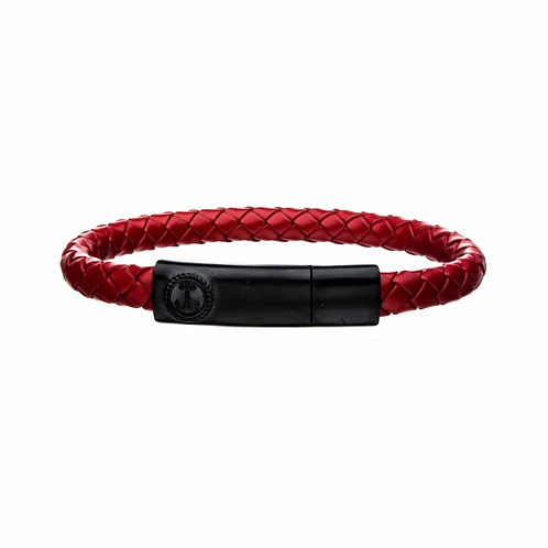 "Red Leather w/ Brushed Black Plated Clasp Bar 8"" Bracelet"