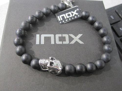 Lava bead skull with clasp bracelet