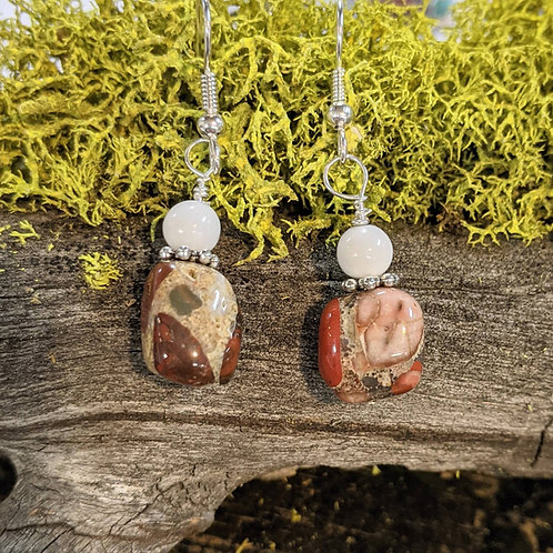 Puddingstone & Milk Glass Earrings