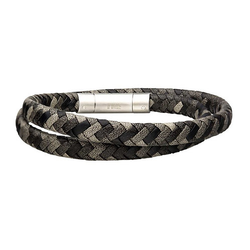 Men's Stainless Steel Grey Double Round Leather Bracelet