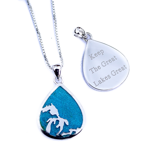 Great Lakes Water Drop Enamel Necklace