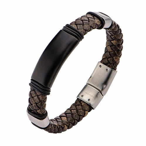 Inox Brown Braided Leather Steel Clasp Bracelet