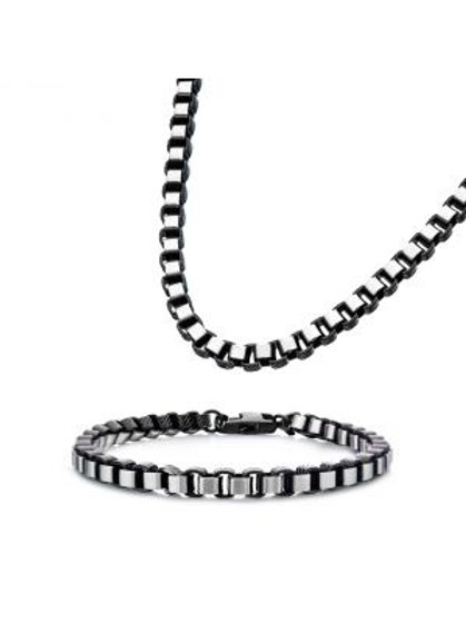 Stainless Steel Black Plated 5.5mm Round Box Chain with Lobster Clasp