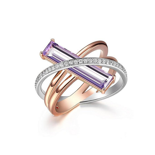 Revolution Rose Gold, Mystic Quartz CZ Ring