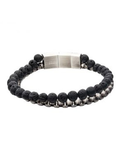 Stainless Steel Gun Metal Bold Box Lava bead Bracelet