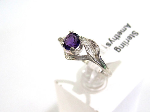 Rose Ring with Genuine Amethyst