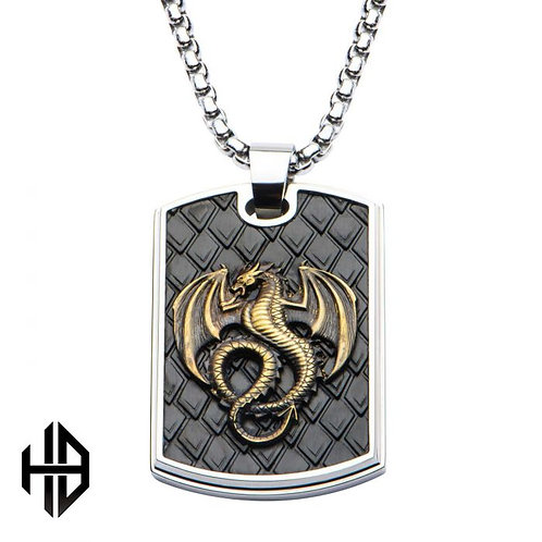 Brass Dragon and Stainless Steel Polished Dog Tag