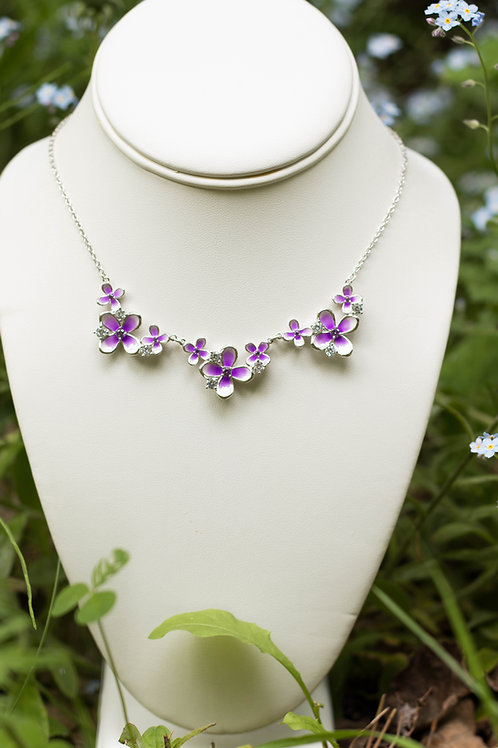 Sterling Silver Triple Lilac Necklace