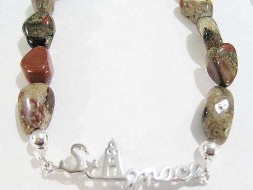 Sterling Silver St. Ignace Pudding Stone Bracelet
