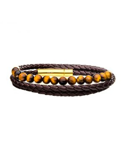 Double Wrap Brown Leather with Tiger Eye Beads Bracelet