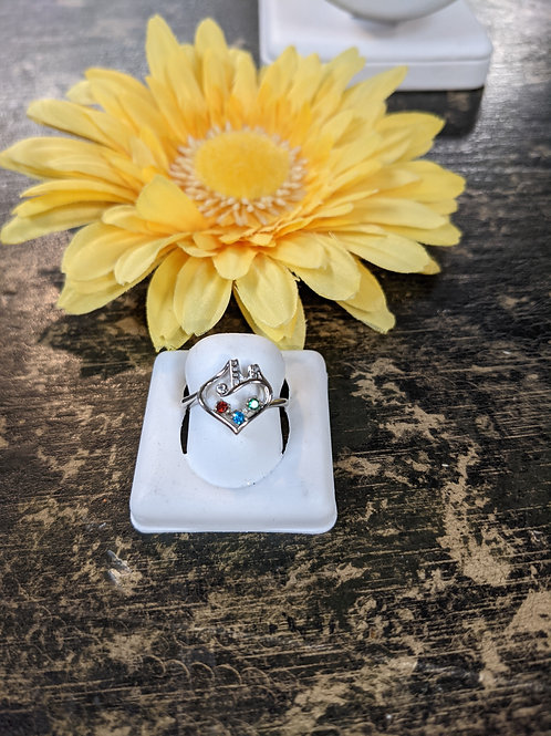 BIRTHSTONE Sterling Bridge to Her Heart  Tower Ring