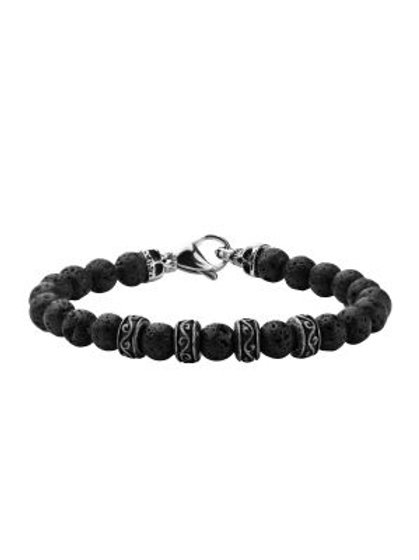 8mm Black Lava Beads Bracelet