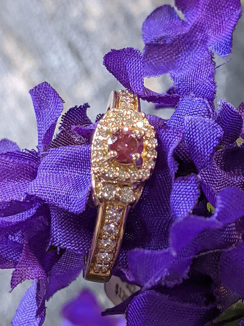 14kt Rose Gold Pink Diamond Carriage Ring 1/2ct TW