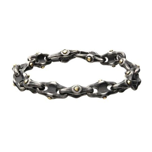 Mens Stainless Steel Antique Distressed Mariner Chain Bracelet