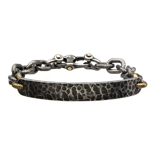 Men's Antiqued Gun Metal with Gold Plated Distressed Mariner Curb Chain Link ID