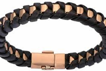 Leather With Rose Gold Ion Plated Matte Clasp Bracelet