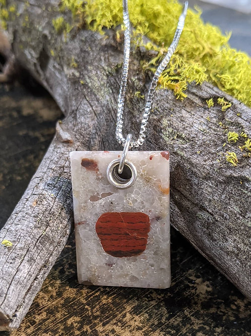 Rectangle Puddingstone Necklace
