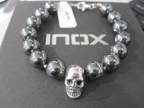 Hematite Bead Skull Clasp Bracelet