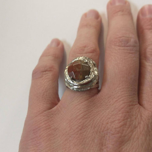 Faceted Puddingstone Ring in Silver