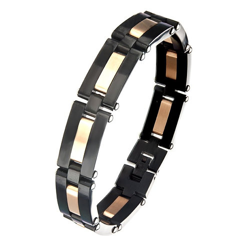 Alternating Black Plated & Rose Gold Plated Link Bracelet