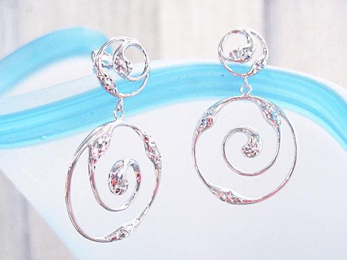 Great Lakes Water Drop Spiral Dangle Earrings