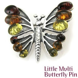 Amber Butterfly Pin in Multi