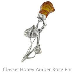 Amber Pin: Classic Cognac Rose