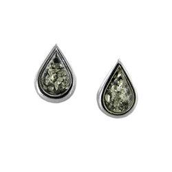 Amber Earrings : Green Amber Teardrops