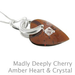 Amber Madly Deeplyt Cherry Amber & Crystal Pendant