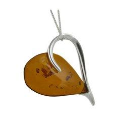 Amber Joyful Open Heart Pendant