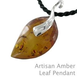 Amber Artisan Leaf Pendant