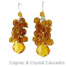 Amber Earrings: Cognac & Crystal Cascades