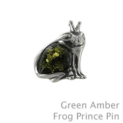 Amber Frog Prince Pin in Green