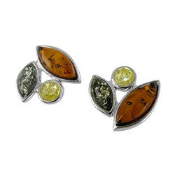 Amber Earrings: Sylvie Tri-color Studs