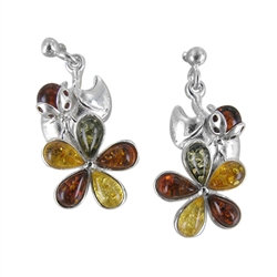 Amber Earrings: Lucky Ladybugs