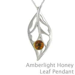 Amber Honey Leaf Pendant