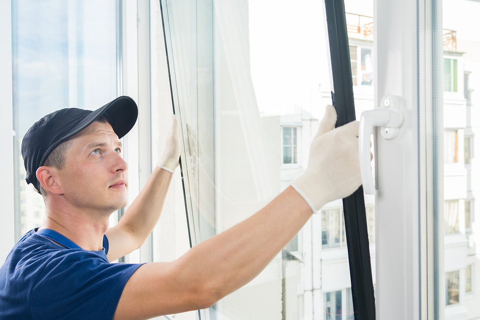 master puts a new double-glazed window i