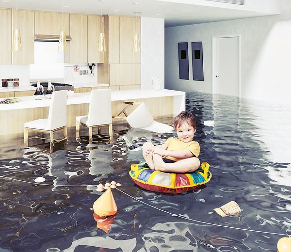 boy in the flooded room. Photo and Media