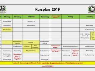 Änderung des Kursplans ab 02.05.2019