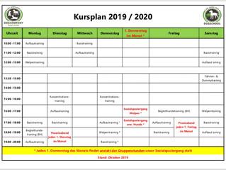 Änderung des Kursplans ab Oktober 2019