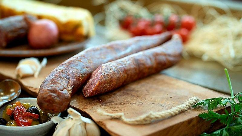 Pork sausage cold smoked