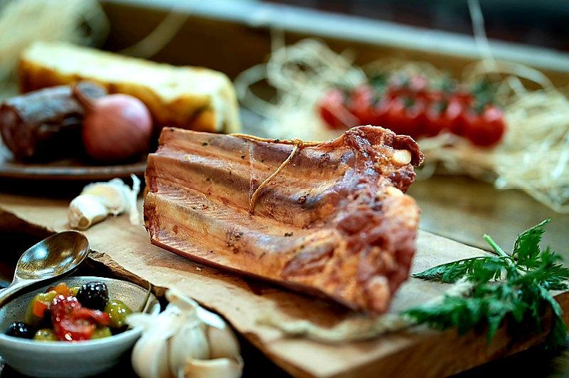 Pork ribs hot smoked