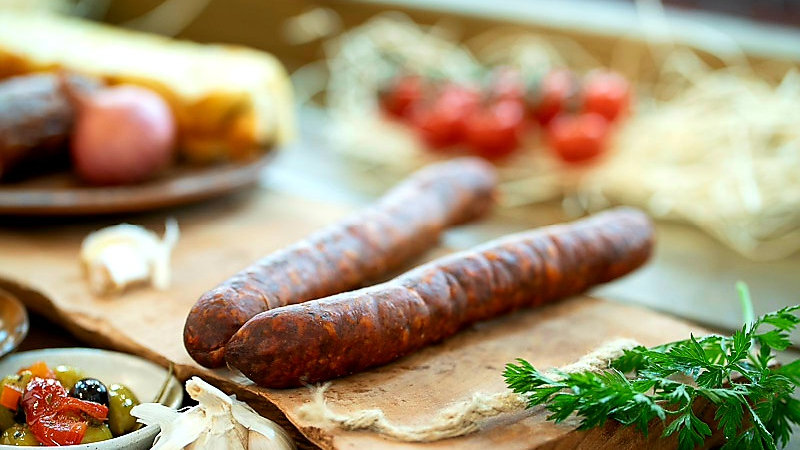 Venison and Hungarian smoked paprika sausage dried