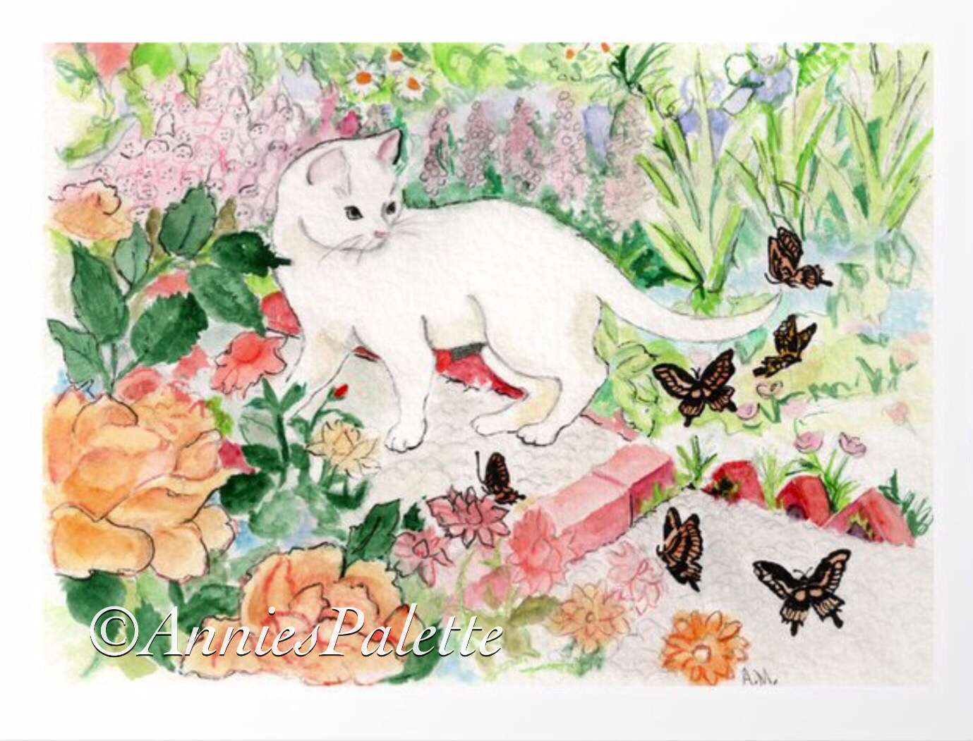 White Cat in a Garden