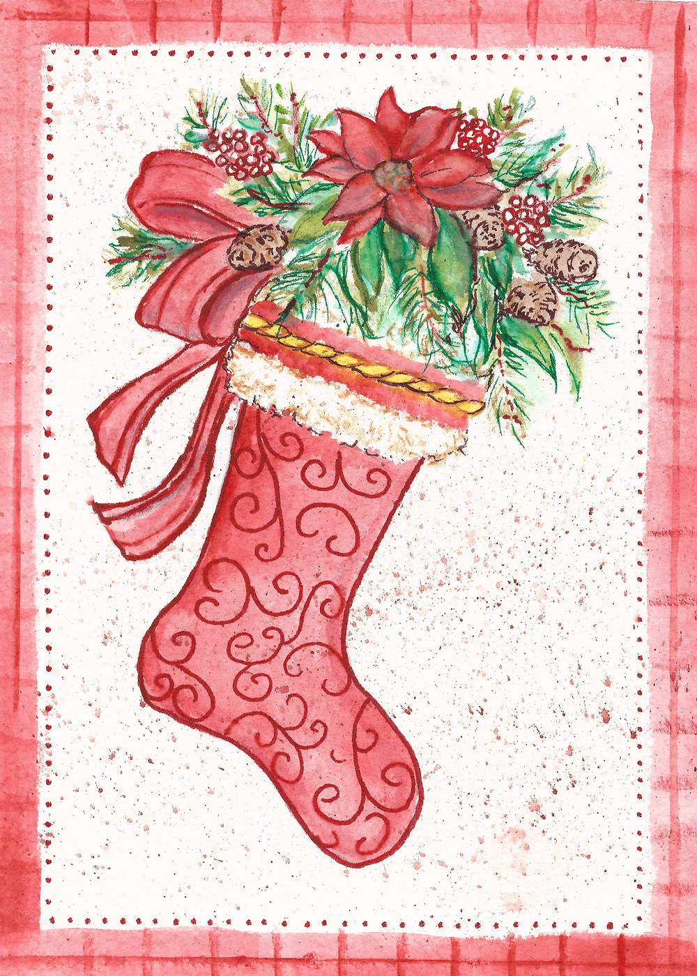 stocking watercolor christmas poinsettia illustration